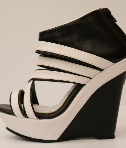 Black and White Artificial Leather Wedge Sandal 1