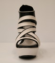 Black and White Artificial Leather Wedge Sandal 10