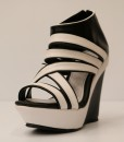Black and White Artificial Leather Wedge Sandal 11