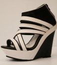 Black and White Artificial Leather Wedge Sandal 12