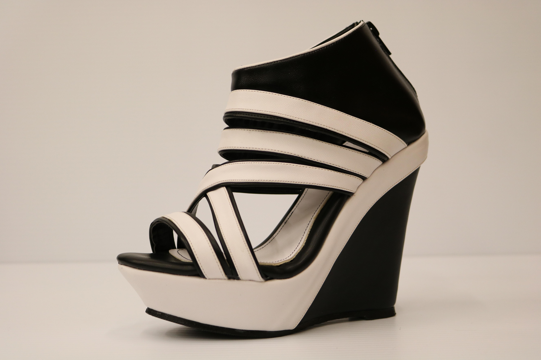 Black And White Wedge Heels