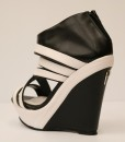Black and White Artificial Leather Wedge Sandal 2