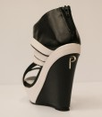 Black and White Artificial Leather Wedge Sandal 3