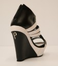 Black and White Artificial Leather Wedge Sandal 5