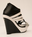 Black and White Artificial Leather Wedge Sandal 6