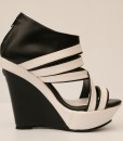 Black and White Artificial Leather Wedge Sandal 7