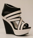 Black and White Artificial Leather Wedge Sandal 8