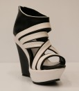 Black and White Artificial Leather Wedge Sandal 9