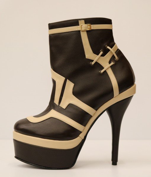 Chocolate Brown and Beige Artificial Leather Bootie 1