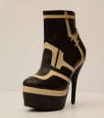 Chocolate Brown and Beige Artificial Leather Bootie 9