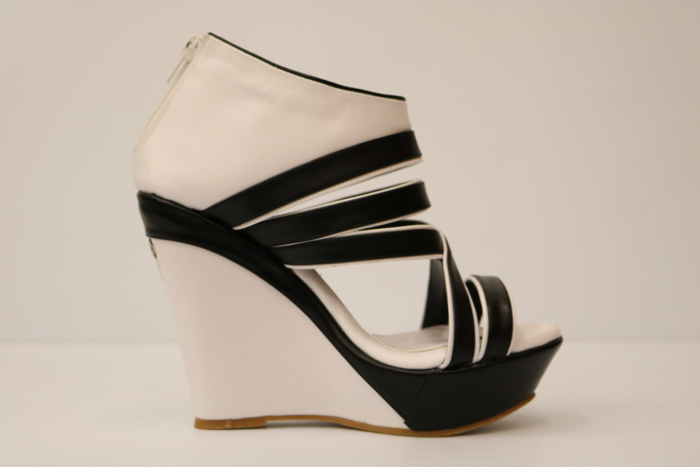 White and Black Artificial Leather